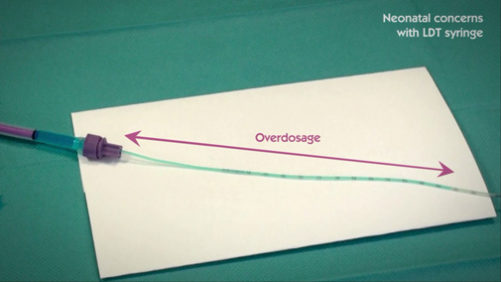 The Low Dose Tip (LDT) syringe can lead to dose inaccuracy or overdosage